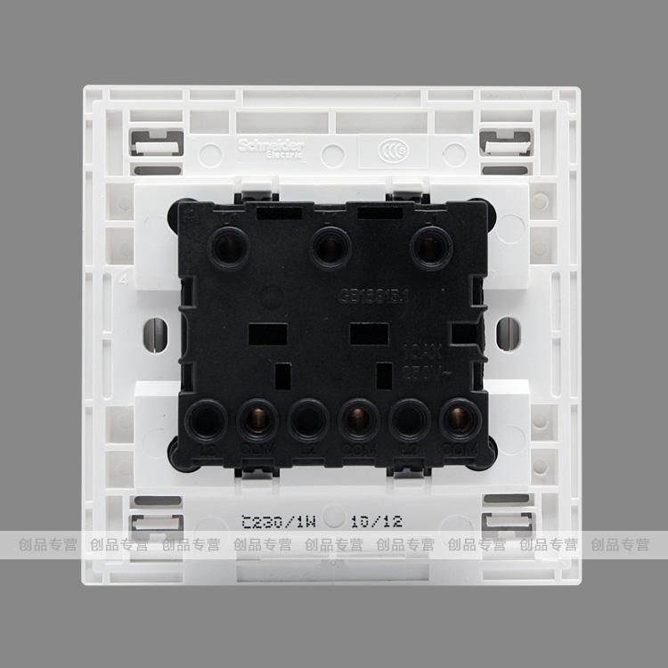 施耐德c86系列三联单控带荧光开关/三开单【图片 价格