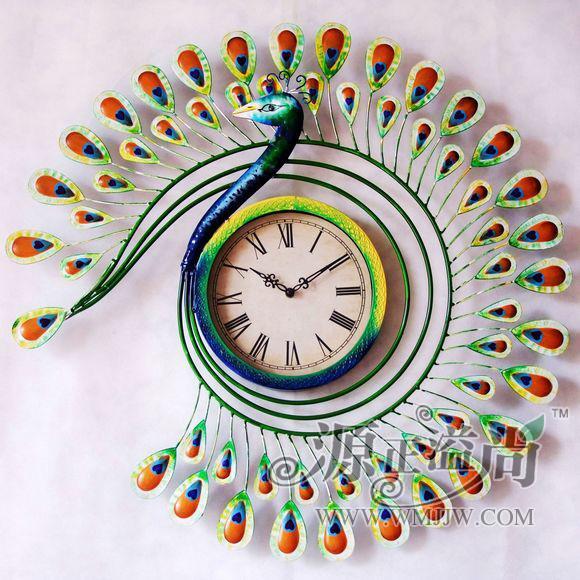 特价欧式客厅静音挂钟铁艺孔雀钟表田园时钟美式挂表壁钟壁挂饰