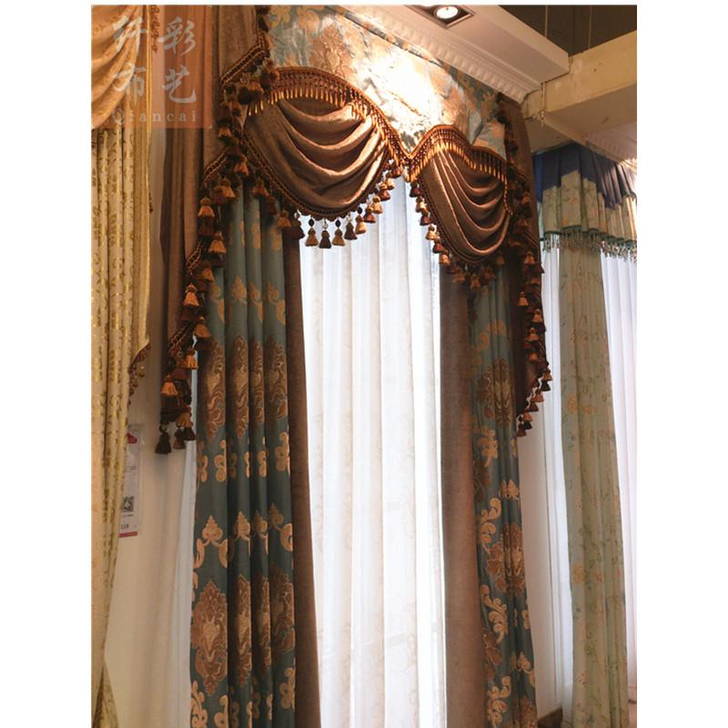 纤彩高档欧式窗帘客厅首选雪尼尔绒布定制窗帘qianc
